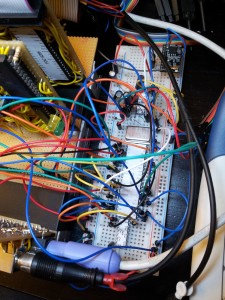 Image of bread board with USR-WIFI232-T and 16C550 to connect it to Z80