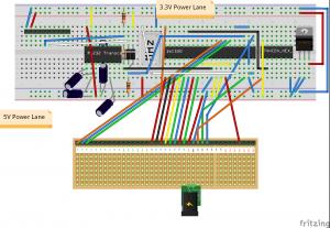 WiFi board with USR-WIFI232-T on a bread board with 16C550